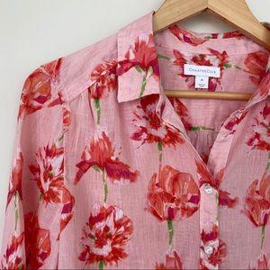 💯 linen floral print shirt